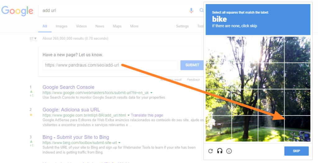 captcha para adicionar URL no Google