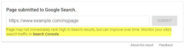 """""""A Página pode não ranquear imediatamente nos resultados do Google, mas podem melhorar com o tempo. Monitore o tráfego de busca do seu site no Google Search Console."""""""