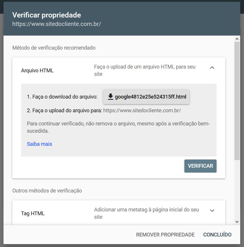 Verificar propriedade no Google Search Console usando um arquivo HTML