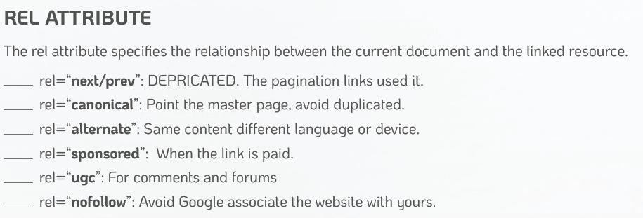 link attributes explicados em inglês